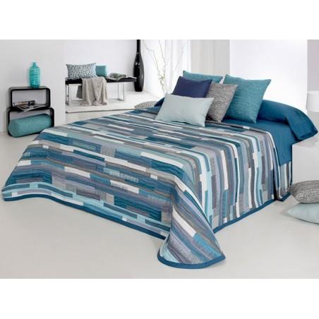 Cuvertura de pat moderna Mate gri cu turcoaz
