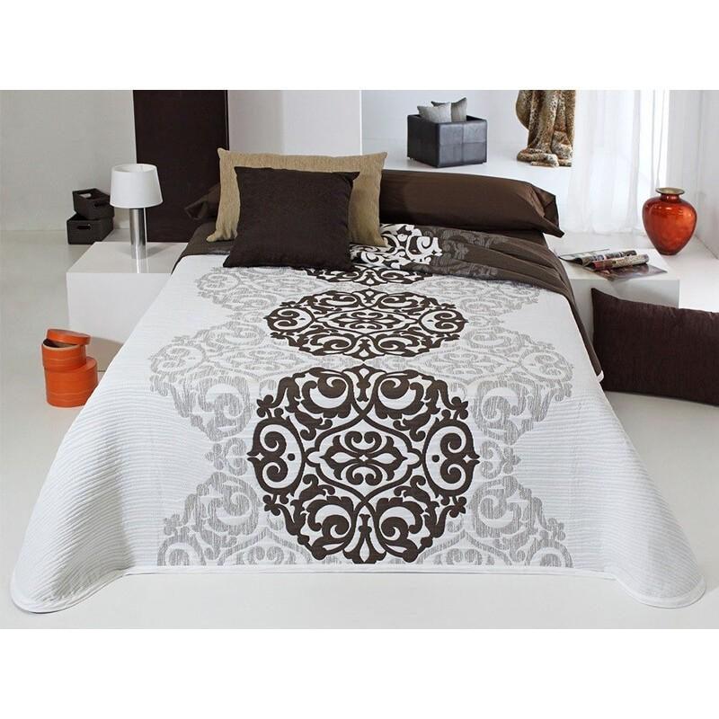 Cuvertura de pat eleganta alb cu maro Loup
