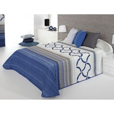 Cuvertura de pat moderna Twist 2P albastru cu gri si alb