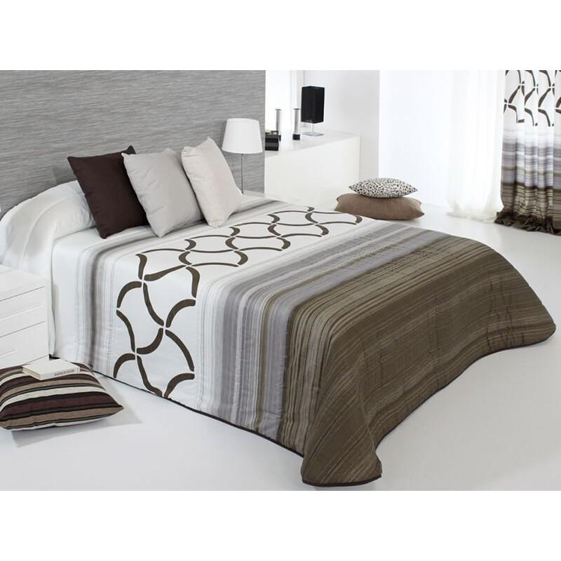 Cuvertura de pat matlasata Twist 2A maro cu gri si alb