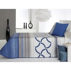Cuvertura de pat matlasata Twist 2A albastru cu gri si alb