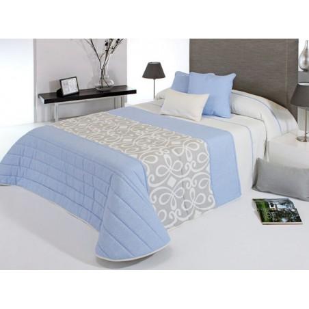 Cuvertura de pat matlasata Grandy bleu cu gri