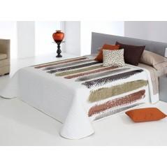 Cuvertura de pat matlasata cu maro si caramiziu Chandler