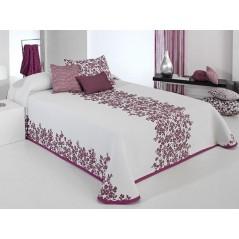 Cuvertura de pat reversibila Lori alb cu mov