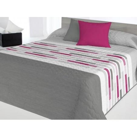 Cuvertura de pat model geometric Trenton gri cu fucsia