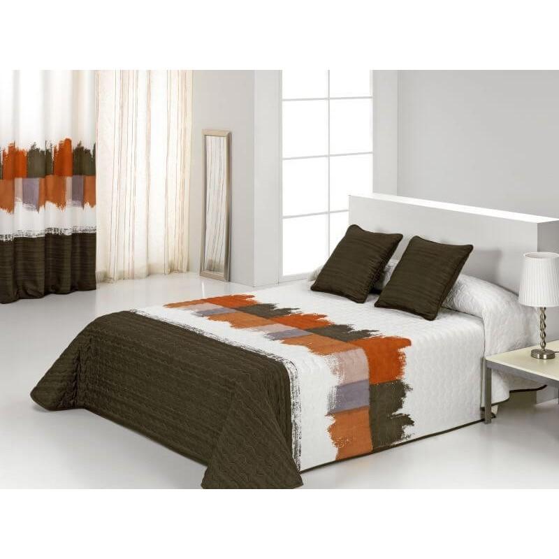 Cuvertura de pat moderna Ferrara olive cu portocaliu si alb