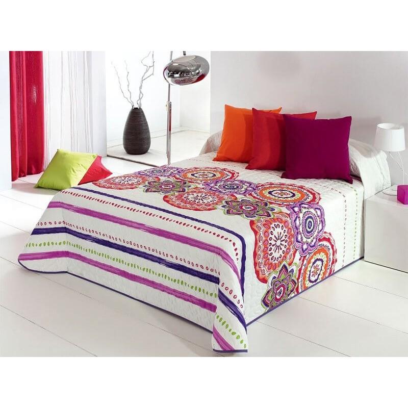 Cuvertura de pat vesela Surat 2P alb cu modele portocalii si mov