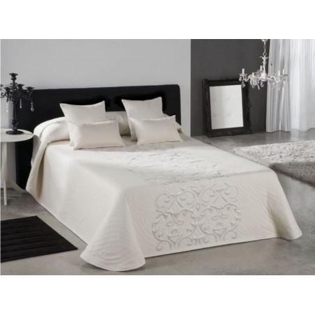 Cuvertura de pat eleganta Piano crem cu model floral ivoire