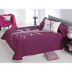 Cuvertura de pat reversibila Lynette alb cu mov