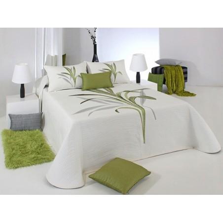 Cuvertura de pat reversibila Lynette crem cu verde