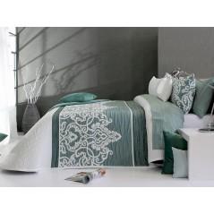 Cuvertura de pat eleganta Chaina 04 verde cu alb