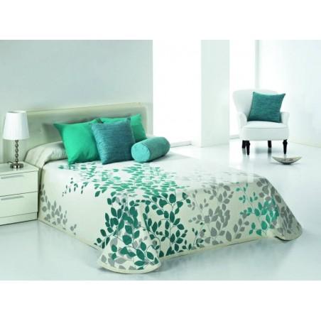Cuvertura de pat reversibila Geisha verde turcoaz si alb