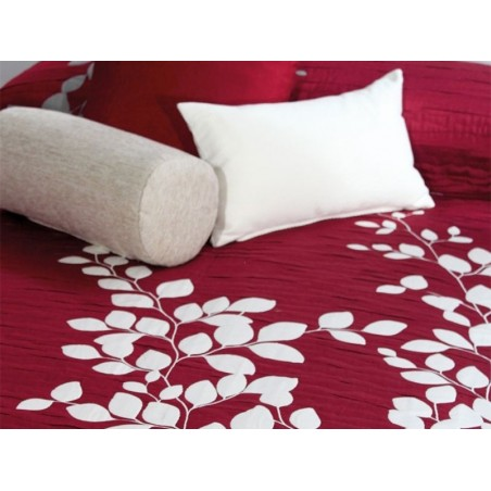 Cuvertura de pat reversibila Geisha rosu si alb