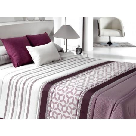 Cuvertura de pat cu model elegant Bis mov cu alb