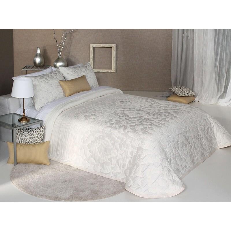 Cuvertura de pat eleganta Palermo cu model abstract ivoire