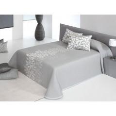 Cuvertura de pat matlasata Perline gri cu model ivoire