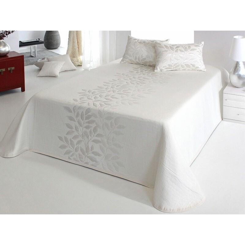 Cuvertura de pat matlasata Perline alb cu model ivoire
