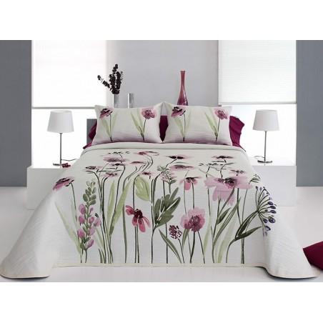 Cuvertura de pat cu motive florale Okara grena cu alb