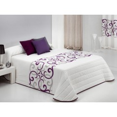 Cuvertura de pat matlasata Vanity alb cu model mov cu gri