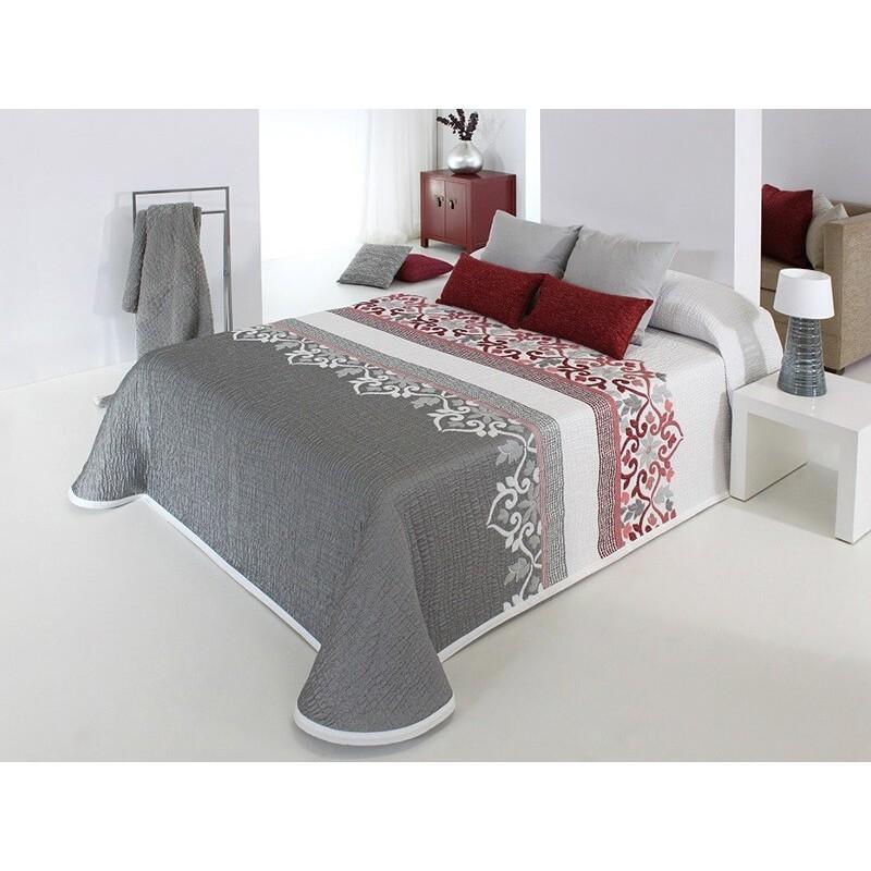 Cuvertura de pat matlasata Irvin gri cu rosu si alb
