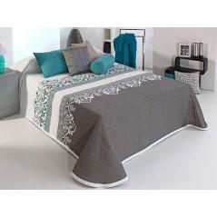Cuvertura de pat matlasata Irvin gri cu turcoaz si alb