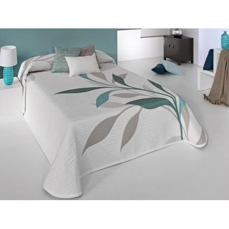 Cuvertura de pat reversibila alb si turcoaz Smart