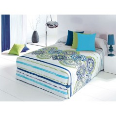 Cuvertura de pat vesela Surat 02 alb cu modele verzi si albastre
