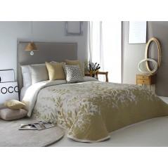 Cuvertura de pat eleganta Lisboa crem cu frunze aurii