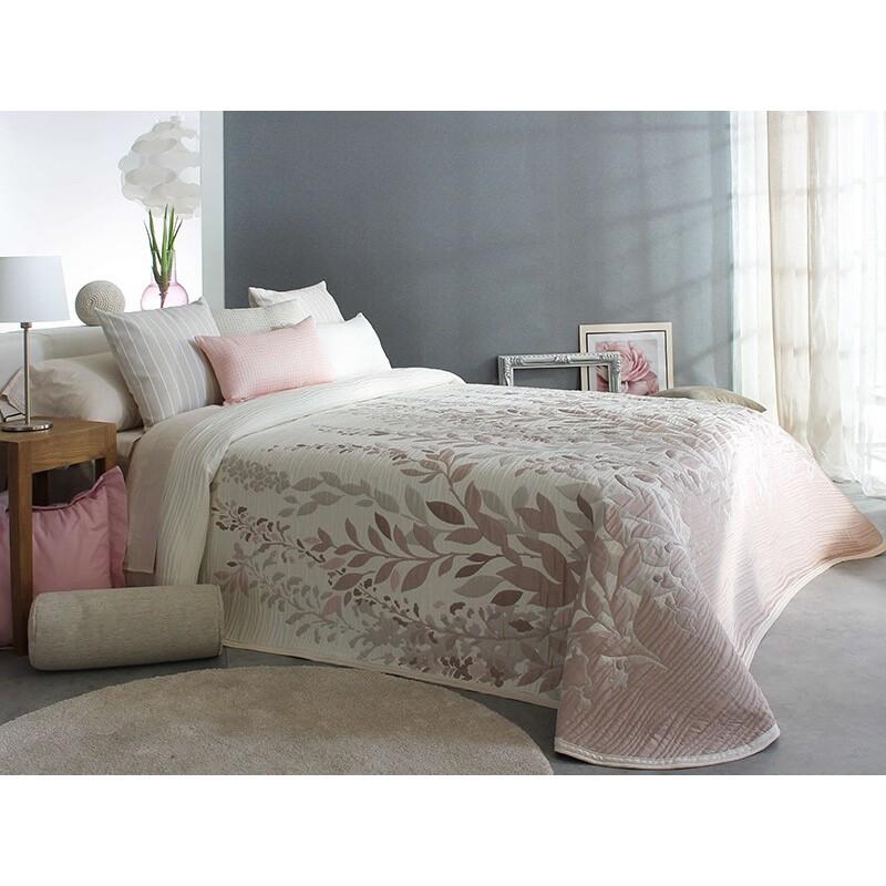 Cuvertura de pat eleganta Lisboa crem cu frunze roz pal