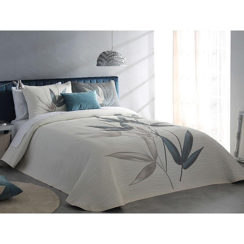 Cuvertura de pat eleganta Specter cu design floral grej si bleu turcoaz inchis