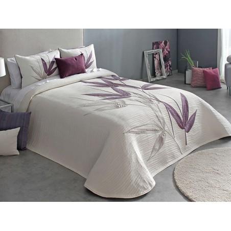 Cuvertura de pat eleganta Specter cu design floral grej si mov