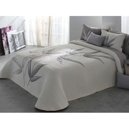 Cuvertura de pat eleganta Specter cu design floral grej si gri