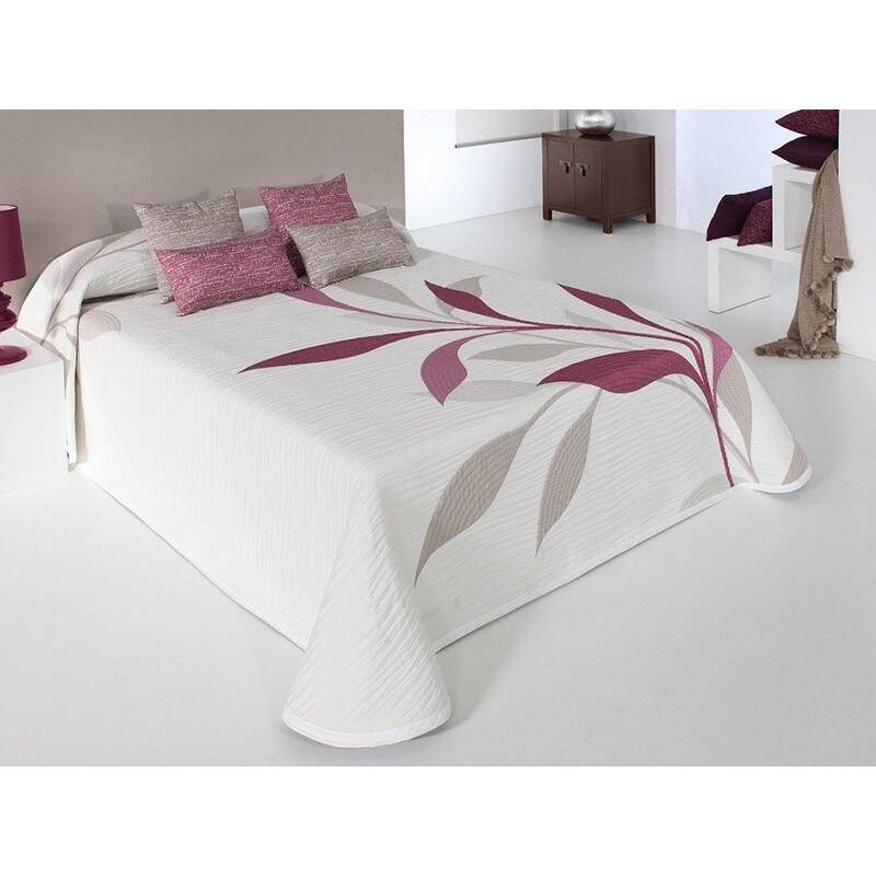 Cuvertura de pat reversibila cu model elegant Smart alb si grena