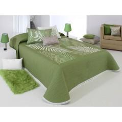 Cuvertura de pat reversibila cu imprimeu cu frunze Libor alb si verde