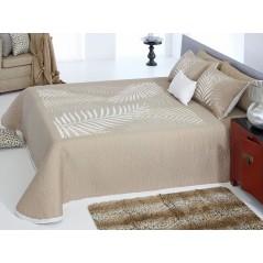 Cuvertura de pat reversibila cu imprimeu cu frunze Libor alb si bej