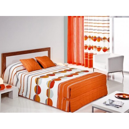 Cuvertura de pat vesela Sipo 02 portocaliu cu gri si alb