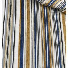 Stofa draperie si tapiterie cu dungi albastru cu mustar