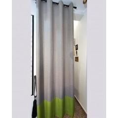 Draperie moderna gri cu verde confectionata cu inele 130x265 cm