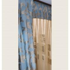 Set decor perdea cu 2 draperii pentru fereastra bleu cu auriu confectionat pe rejansa