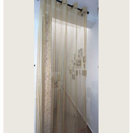 Perdea organza cu dungi bej auriu confectionata cu inele 180x260 cm