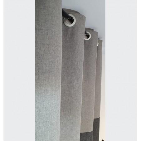 Draperie simpla bumbac gri in trei nuante confectionata cu inele 135x240 cm