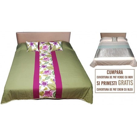 Set cuvertura de pat matlasata verde cu mov si 2 perne decor