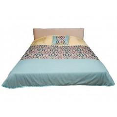 Set cuvertura de pat matlasata cu o perna decorativa galben cu verde turcoaz + 1 cuvertura de pat matlasata crem cu turcoaz