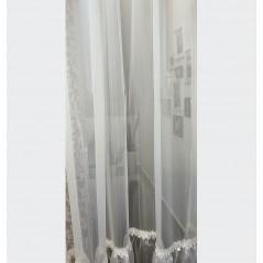 Perdea ivoire cu volan si dantela confectionata pe rejansa 280x265 cm