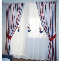 Metraj draperie copii cu dungi albastru cu rosu Piracor