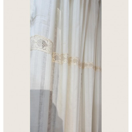 Perdea de bucatarie din bumbac cu dantela confectionata cu rejansa 250x200 cm