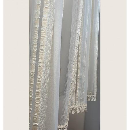 Set 2 perdele organza ivoire cu dantela confectionate pentru bara sau galerie 110x145 cm