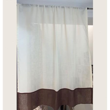 Perdea de bucatarie din bumbac crem cu maro confectionata pentru bara sau galerie 110x130 cm