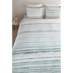 Set lenjerie de pat cu 2 fete de perna bumbac Alesund albastru si gri