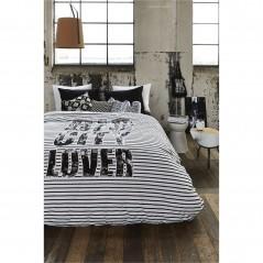 Set lenjerie de pat cu 2 fete de perna bumbac Big City Lover negru cu alb